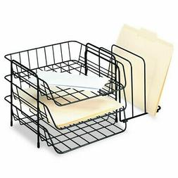 Fellowes 72331 Wire Triple Tray with Sorter, Front Load, Let