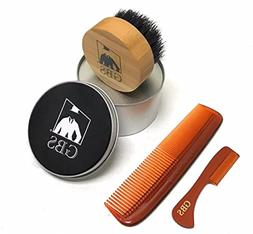 Premium Compact Wood Beard Brush with Travel Canister, Torto
