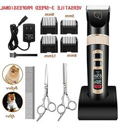 Dog Grooming Clippers 3-Speed Professional Rechargeable Cord