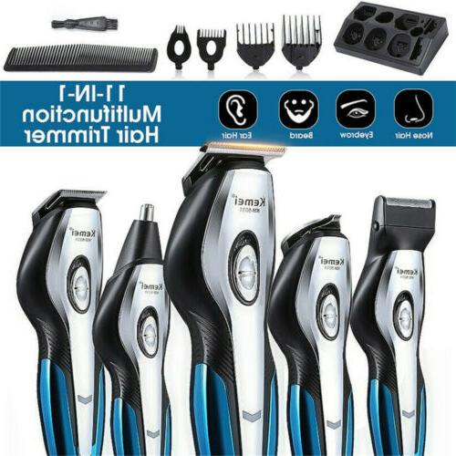 11In1 Men's Hair Clipper Trimmer Rechargeable Grooming Kit