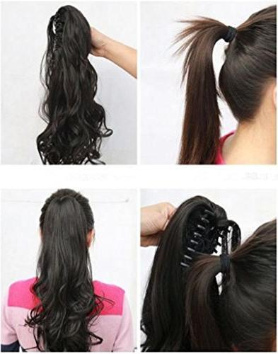 """18""""SEXY Ponytail Jaw Tail Clip in Hair Extensions One Piece Silky for"""