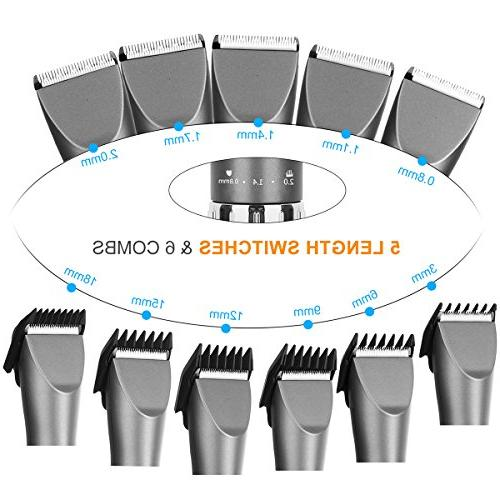 Sminiker Professional Kit Hair Set 6 Comb, Guides and Scissors Grey