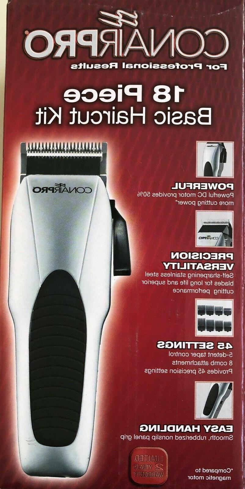 CONAIR CPC200 CHROME CLIPPER 18PC KIT 8 COMB ATTACHMENTS