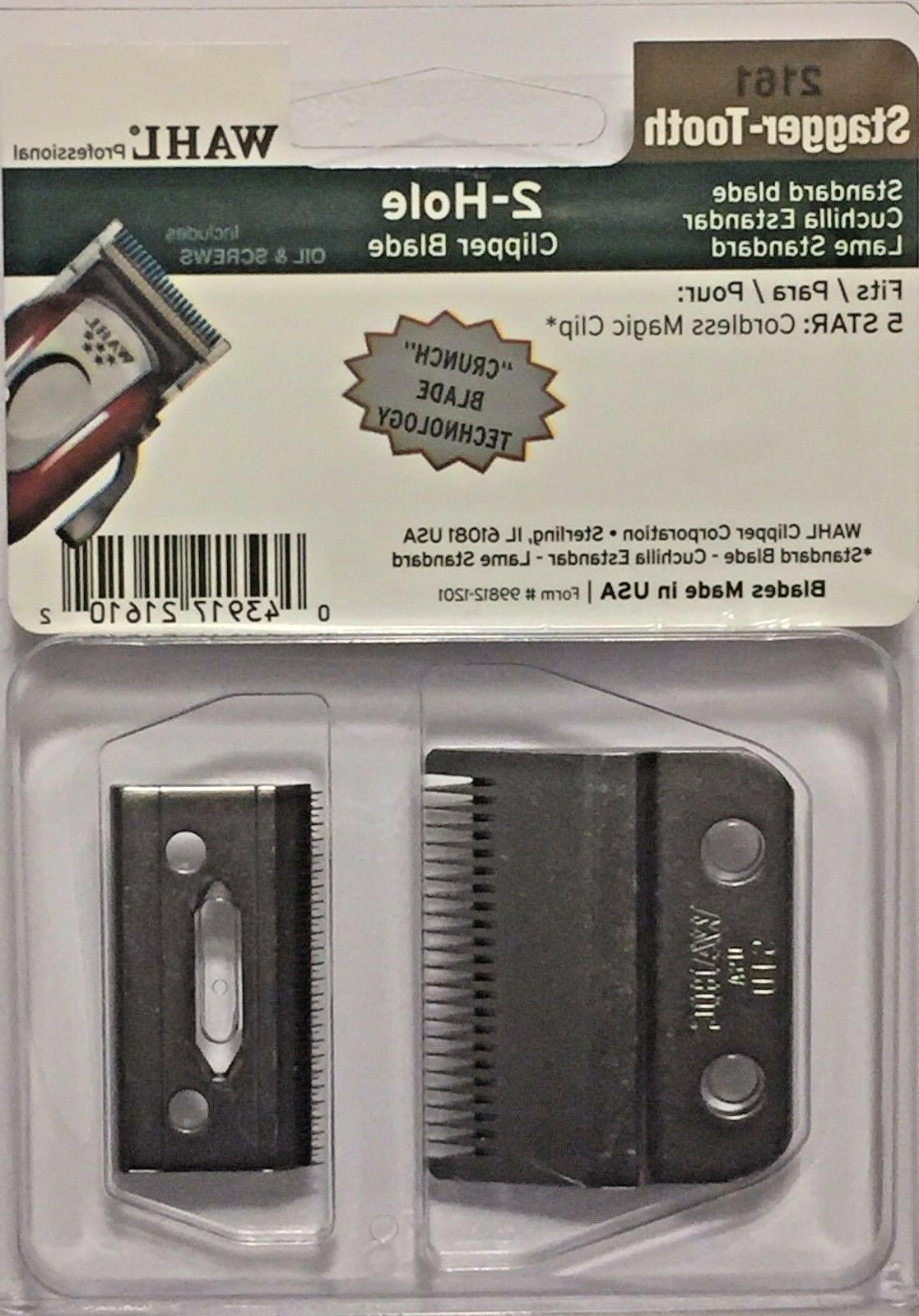 WAHL PROFESSIONAL 2 HOLE BLADE STAGGER TOOTH CRUNCH BLADE #