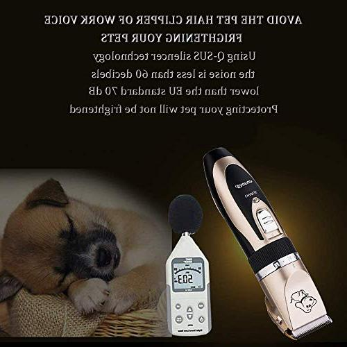 Sorliva Pet Clipper Grooming Kits Pet Hair Remover Shaver Razor Low Noise Electric Rechargeable Cordless Trimmer Blades Comb Scissor for Dogs /& Cats Black