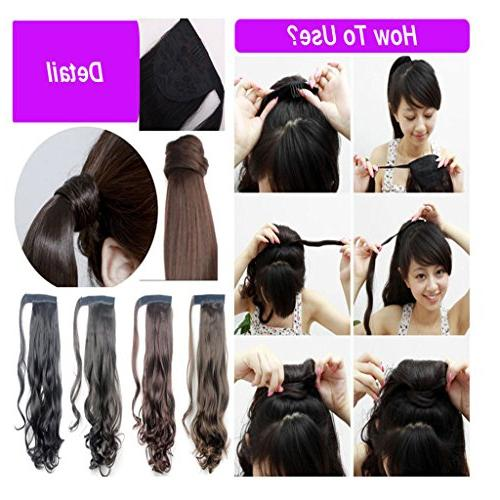 Haironline Ponytail Extensions Wrap Around Synthetic Clip in Hair Extensions One Piece Tail Wavy Soft Silky