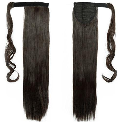 Haironline Ponytail Extensions Around in Piece Magic Paste Pony Tail Long Wavy Soft