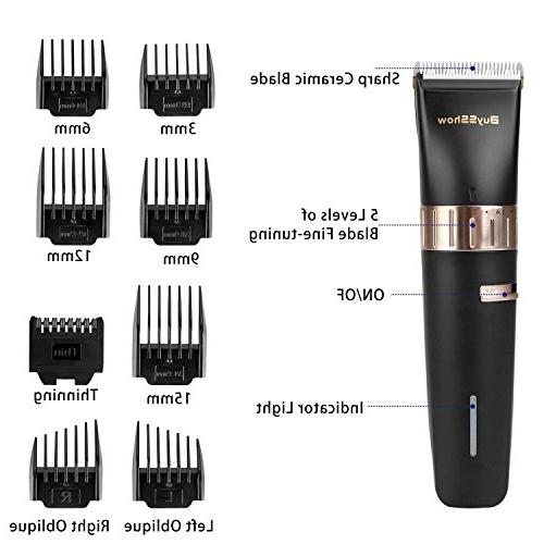 BuySShow Quiet Professional Clippers Hair clippers for Men and with Charging Dock,8 Comb Hairdressing Cape