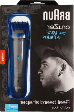 BRAUN Mens CruZer 6 Cordless BEARD & HEAD Hair Trimmer Clipp