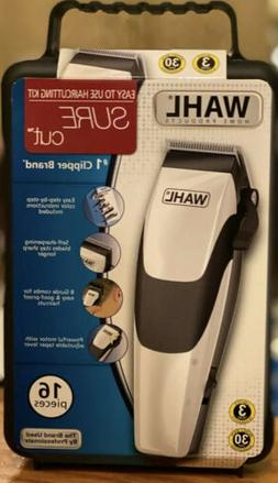 NEW Wahl COMPLETE HOME HAIRCUTTING KIT SURE CUT CLIPPERS 16