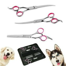 Pet Dog Grooming Scissors Tools Set Dog Straight Curved Thin