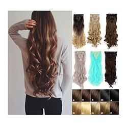 """Hot Sexy 17""""23"""" Long Curly Wavy Clip in on 8 Pieces Full Hea"""