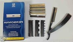 STAINLESS STRAIGHT EDGE FOLDING BARBER RAZOR WITH 3 GUARDS A